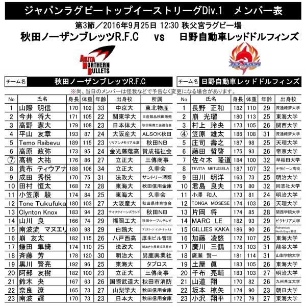 VS 日野自動車レッドドルフィンズ メンバー表